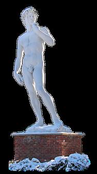 David, Statue, Snow, Park, Marble Statue, White Statue