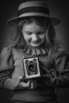 Little Girl, Camera, Monochrome, Analog Camera, Girl