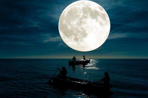 Ocean, Moon, Boats, Silhouettes, Light, Moonlight