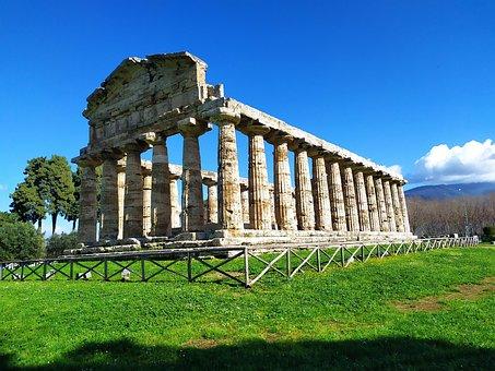 Paestum, Ceres, Temple, Light, Greek, Unesco, Salerno