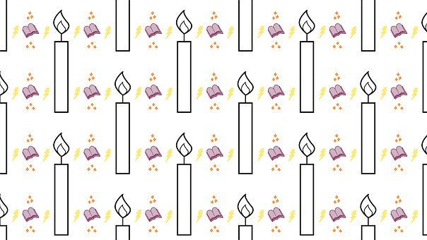 Candles, Book, Pattern, Background, Lightning, Page