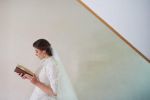 Wedding, Bride, Read, Reading, Book, Bible
