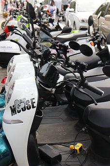 Bikes, Scooters, Row, Line, Transportation, Parked