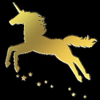 Unicorn, Gold Foil, Silhouette, Cartoon, Line Art