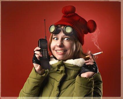 Woman, Walkie-talkie, Cigarette, Smoke, Smoking, Call