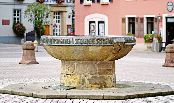 Fountain, Water, Dom, Cathedral Square, Speyer, Germany
