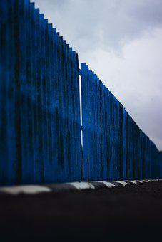 Fence, Metal, Structure, Iron, Blue Fence, Weathered