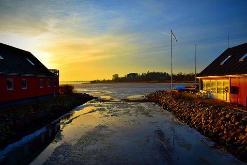 Sun, Ice, Denmark, Sunset, Earth