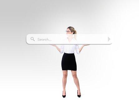 Woman, Search, Search Bar, Fun, Funny, Seek, Seeking