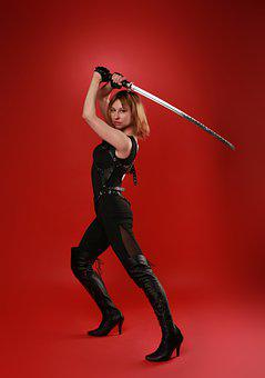 Woman, Katana, Ninja, Girl, Pose, Sword, Samurai