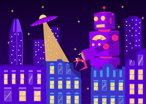Vaporwave, Robot, Alien, Spaceship, Fantasy, Bots