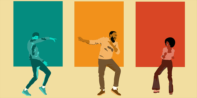 Background, Logo, Young, Man, Woman, Dancing, Character