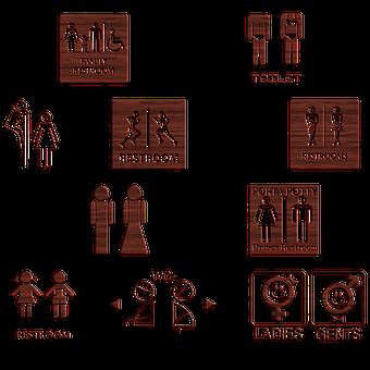 Bathroom Signs, Wooden, Symbol, Gender, Women, Men