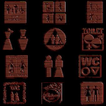 Bathroom Signs, Wooden, Symbol, Wood, Gender, Women