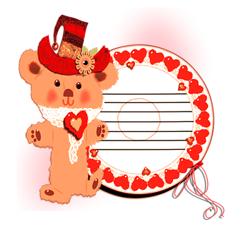 Heart, Tag, Gift, Present, Bear, Love, Cartoon, Red