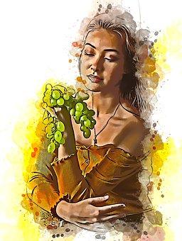 Girl, Female, Woman, Portrait, Grapes, Colors, Beauty