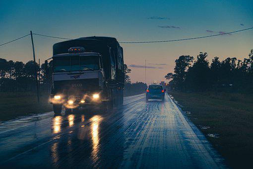 Night, Truck, Road, Big Truck, Delivery Truck