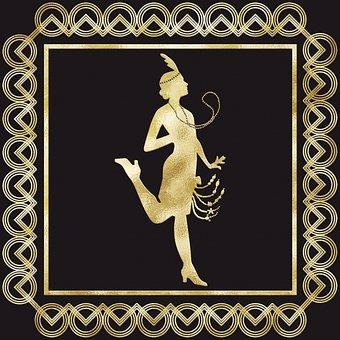 Woman, Flapper, Gold Foil, Frame, Border