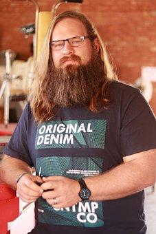Man, Beard, Long Hair, Pensive, Rugged, Bro, Glasses