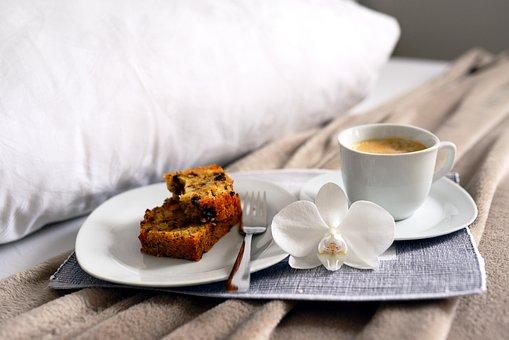 Coffee, Breakfast, Bed, Food, Cake, Pastry, Drink