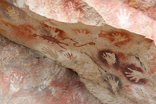 Rock, Mountain, Cave, Cavern, Hands, Painting