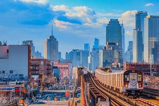 Train, Buildings, Traffic, Road, Skyline, Cityscape