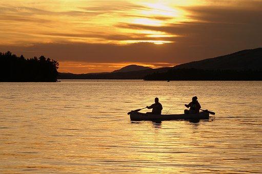 Canoe, Lake, Mountains, Sunset, Maine, Clouds