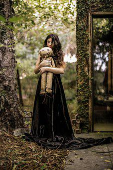 Girl, Forest, Child, Doll, Creepy Doll, Young Woman