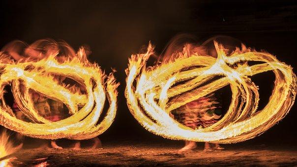 Fire, Fire Dancers, Beach, Dancer, Artistic, Dance
