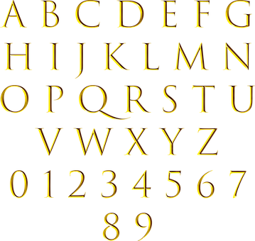 Alphabet, Numbers, Gold, Letters, Gold Alphabet, Design
