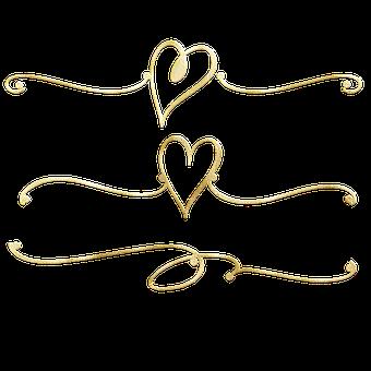 Gold Foil, Dividers, Heart, Flourish, Heart Dividers