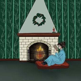 Fireplace, Girl, Book, Read, Reading, Warm, Cozy