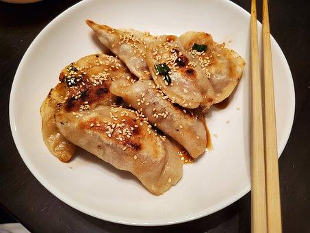 Korean, Food, Dumpling, Wood, Chopsticks, White, Plate