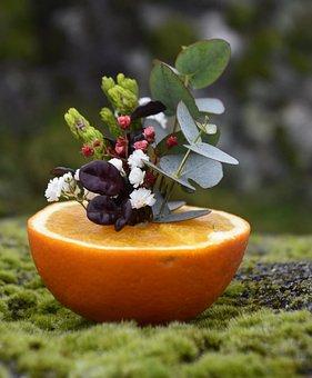 Flowers, Fruit, Orange, Centerpiece, Floral