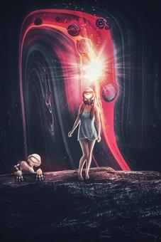 Girl, Space, Cosmic, Robot, Artifical Intelligence