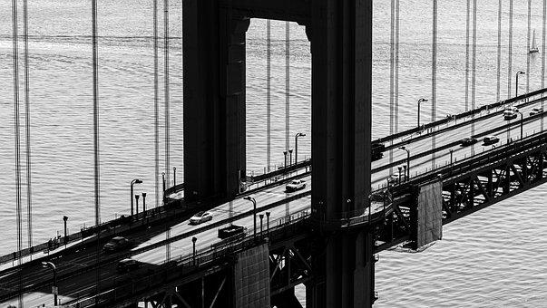 Golden Gate Bridge, Road, Sea, Monochrome, Bridge
