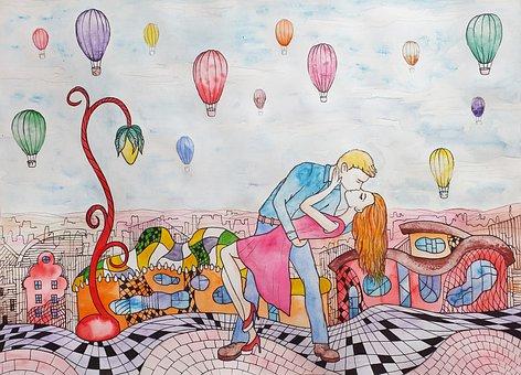 Couple, Kiss, Love, City, Hug, Balloons, Watercolor