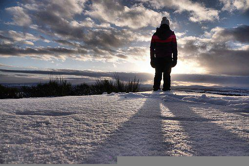 Sunrise, Snow, Human, Winter Clothes, Winter Clothing