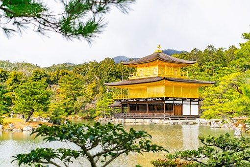 Pavilion, Lake, Pagoda, Trees, Kinkaku-ji, Golden