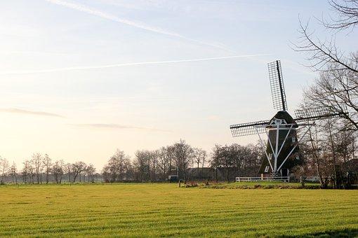 Windmill, Dutch, Landscape, Horizon, Holland
