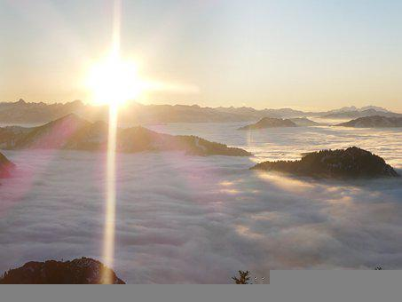 Mountains, Alpine, Allgäu, Fog, Light Snowfall, Sun
