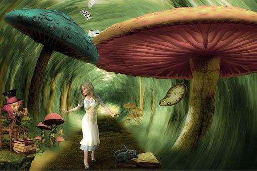 Alice, Wonderland, Mushrooms, Fiction