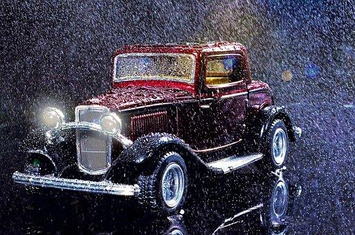 Car, Raining, Old, Vintage, Transport
