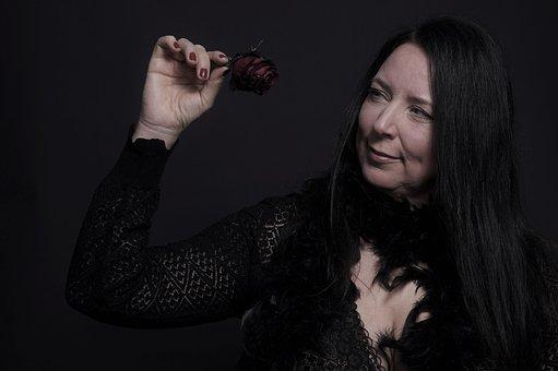 Woman, Human Female, Portrait, Red Rose Romantic