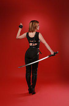 Woman, Model, Costume, Cosplay, Portrait, Sword, Katana