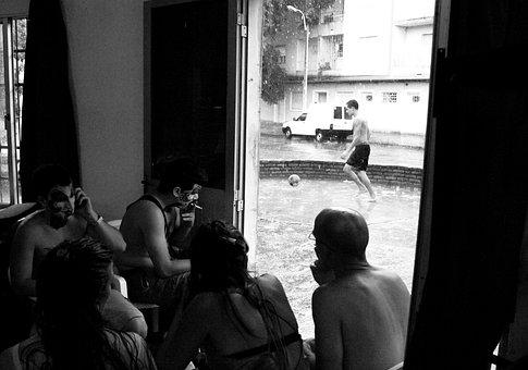 Black And White, Rain, People, Football, Street