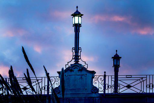 Bridge, Handrail, Street Lamp, Architecture, Romantic