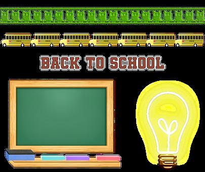 Back To School, Blackboard, School Bus, Light Bulb