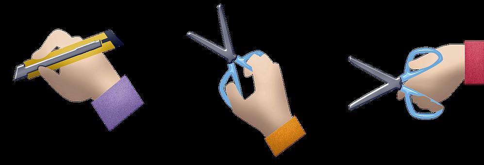 Hands, Scissors, Box Cutter, Utility Knife, Cut
