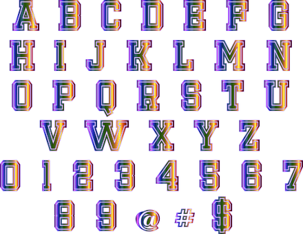 Alphabet, Numbers, Colorful, Shiny, Letters, At Sign